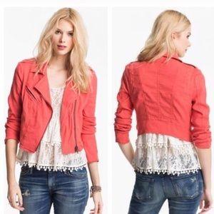 Free People Coral Linen Blend Moto Jacket Size 4